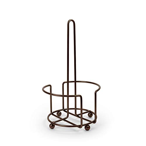 Totally Kitchen Paper Towel Holder | Simple Tear Standing Paper Towel Dispenser | Heavy Duty Metal Construction | Fits Rolls | Oil Rubbed Bronze
