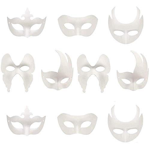 Limeow Masken Blanko Weiße Maske Maske Unlackiert Maskerade Maske Unbemalt Weiß Maske Karneval Maske DIY Dekoration, für Halloween Masquerade Party, Handgemalte Kreative Design Maske, 10 Stück