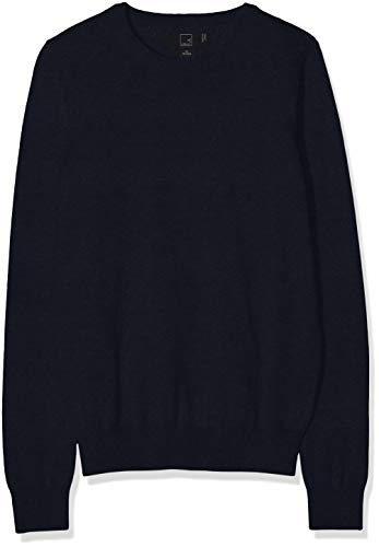 Amazon-Marke: MERAKI Baumwoll-Pullover Damen mit Rundhals, Blau (Navy), 36, Label: S