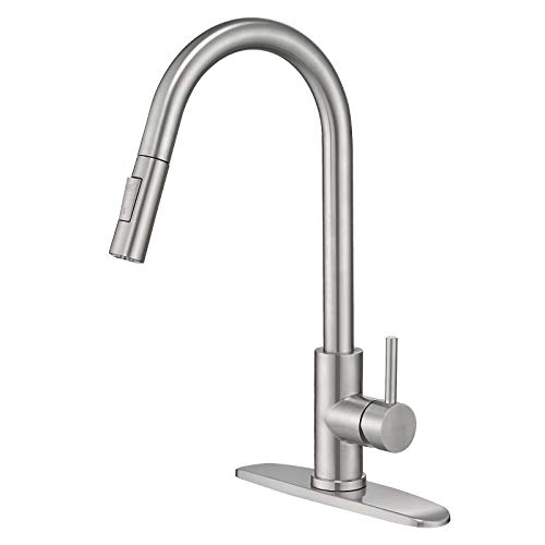 Kitchen Sink Faucet with Pull Down Sprayer Single Handle,Stainless Brush Lead-Free 2 Mode High Arc Single Level Stainless Steel Pull Out Faucet for Kitchen Sink FAYCHE