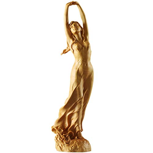 ZHUSHI 23cm Neues Holz Chinesischen Stil HD Schöne Weibliche Statue Skulptur Kunst Handgemachte Buchsbaum Holzschnitzerei Fee Miniatur Ornamente Handwerk