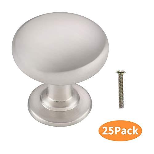 KES Möbelknopf Schrankknöpfe Türgriff für Schrank Möbel Tür Möbelgriffe Knauf 25 Stück Zinklegierung Gebürstet Nickel, HCK301-2-P25