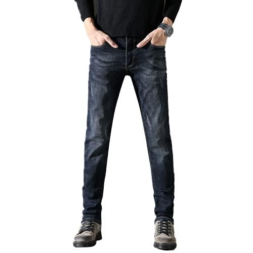 Jeans da Uomo Autunno Nuovo Slim Confortevole Elasticizzato Classico con Cerniera abbottonatura Trend Selvaggio Dritto Pantaloni Casual in Denim 31