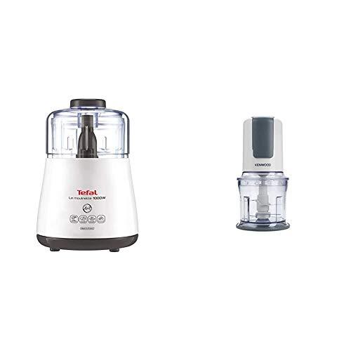 Tefal DPA130 La Moulinette Elektrischer Zerkleinerer (1000 Watt, Behälterkapazität: 330 g, inklusive Kabelverstaufach) weiß & Kenwood Zerkleinerer CH580, 0,5 l Arbeitsbehälter, 500 Watt, weiß
