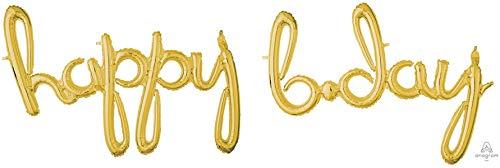 amscan 2-pc Gold 'Happy B.day' 3D Script Foil Balloon