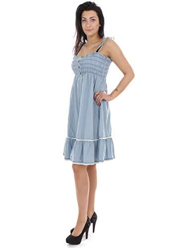 Raiden Kleid Sommerkleid Jeanskleid hellblau Spaghetti-Träger (L)
