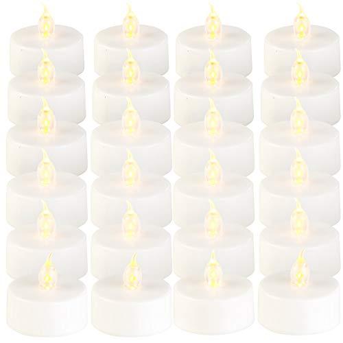 Lunartec Elektrisches Teelicht: 24er-Set LED-Teelichter mit flackerndem Licht, Batteriebetrieb (Ledteelichter)