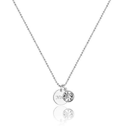 Kette mit Gravur & Zirkonia Steinchen aus 925er Sterlingsilber | Geschenke für Frauen | Persönliche Gravur | Namenskette