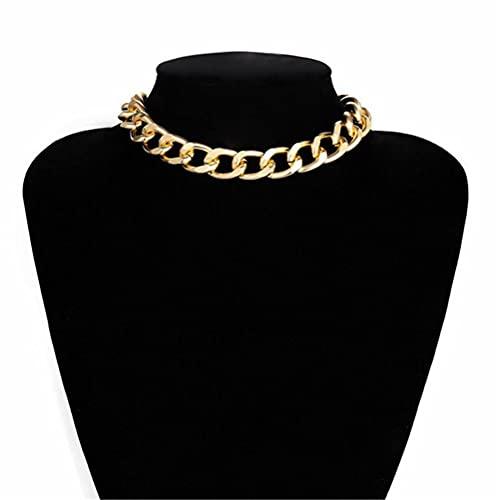 BST-MAI Cadena Cubana Resistente, Gargantilla Cubana en Aluminio Dorado, Collar de Cadena Gruesa, Joyería de Estilo Hip Hop para Mujeres, Cadena de Clavícula de Hip-Hop Unisex