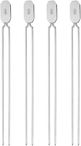 RÖSLE Grillspieße, Doppelspieße zur Zubereitung von Schaschlik und Gemüse, 4 Stück, 33 cm, Edelstahl 18/10, Spülmaschinengeeignet