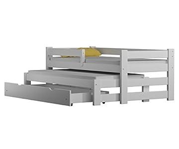 WNM Group Cama individual con trunddle y cajones, madera maciza exclusiva, (blanco)