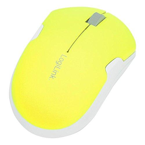 LogiLink ID0122 2,4 GHz Optische Travel Funk-Maus 1200 DPI in gelb-weiß