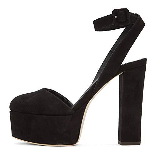 Zapatos para mujer Sandalias Bombas de talón alto Bloque de talón Plataforma Sandalias Tacones altos de verano,Negro,41