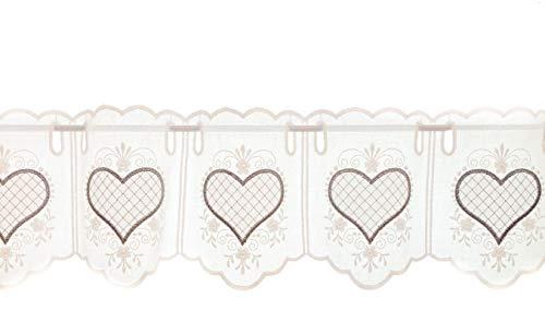 Zauberhafte Scheibengardine il Landhausstil Herzen- höhe 20 cm Farbe rohweiss/grau - ideal für kleine Fenster (20x48 cm)