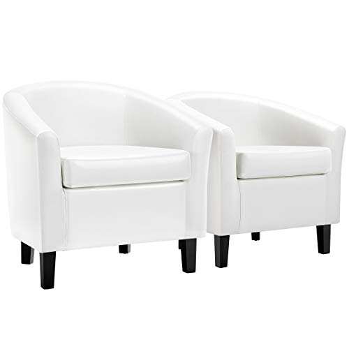 YAHEETECH 2 x Faux Leather Club Chair Accent Arm Chair PVC Leather Barrel Chair for Living Room Bedroom Reception Room