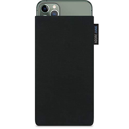 Adore June Classic Schwarz Tasche kompatibel mit Apple iPhone 11 Pro Max Handytasche aus beständigem Cordura Stoff mit Bildschirm Reinigungs-Effekt, Made in Europe
