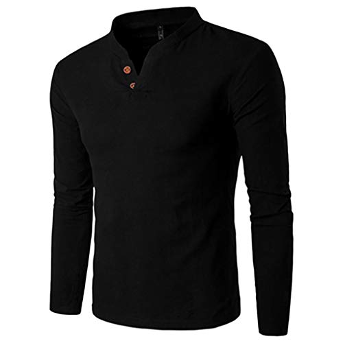 Check Out This WUAI-Men Lightweight Casual Slim Fit Henley Shirt Long Sleeve Cotton Baseball T-Shirt...
