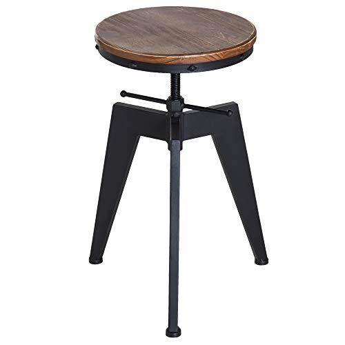 homcom Sgabello da Bar Alto in Stile Industriale Regolabile in Altezza, Metallo e Legno, 39x41x49-64cm Marrone e Nero