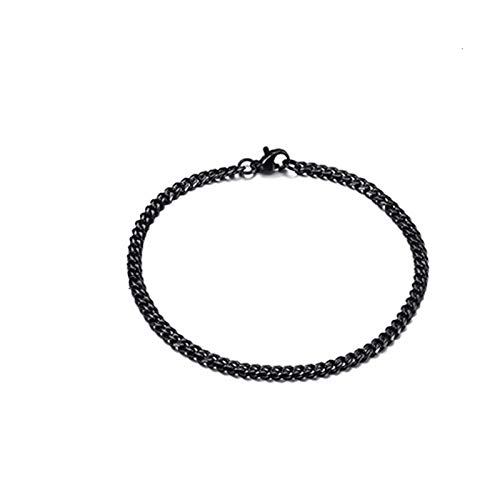LZZR Pulsera Ajustable de Oro de Acero Inoxidable de Acero Inoxidable para Hombres. (Color : Black 3mm, Size : 23cm 9inch)
