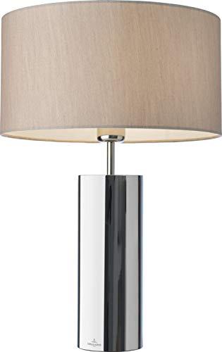 Villeroy & Boch Prag Tischleuchte, Edelstahl poliert, E27, 60 W, Silber/Beige, H 53 cm, Schirm Ø 36 cm