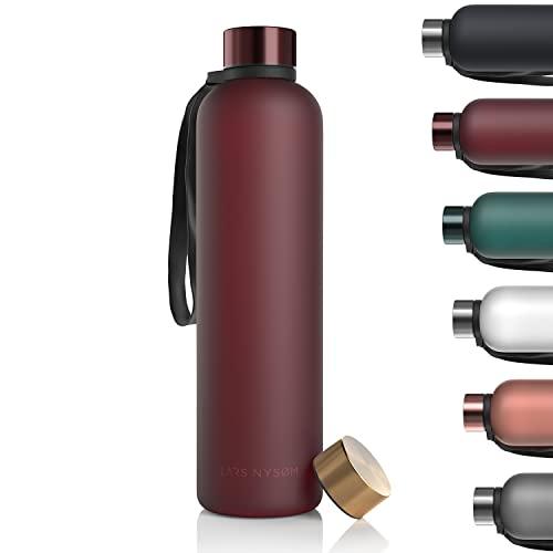 LARS NYSØM Gourde 1l | Bouteille d'eau 1000ml sans BPA | Bouteille de sport ultralégère en Tritan anti-fuite | Idéal pour le sport, le bureau, le yoga, les enfants | 2 couvercles inclus
