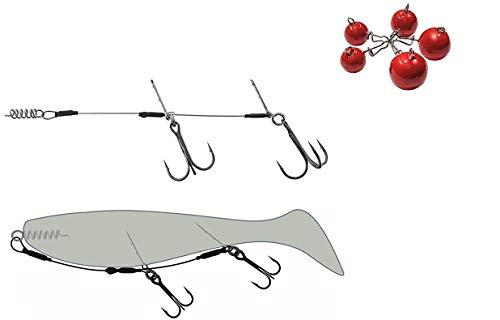 Jenzi Set: Stinger System Komplett-Set für Gummifische inklusive verschiedener Gewichte + gratis Petri Heil! Aufkleber