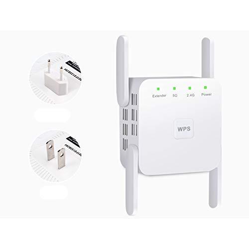QGGESY Repetidor WiFi,Amplificador WiFi,Banda Dual 2.4GHz y 5GHz Extensor de Red,Repetidor WiFi Largo Alcance con Ap/Repeater/Router Modos, Puerto Ethernet e Interfaz de Alimentación,White