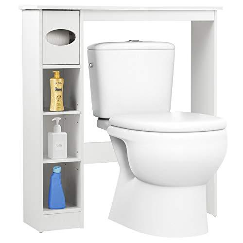 COSTWAY Toilettenregal weiß, Badezimmerregal mit verstellbaren Regalen, Badezimmerorganisator mit Papierhalter, Toilettenschrank freistehend, Überbauschrank Waschmaschinenregal Holz