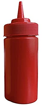 BPA Free Food Prep 12 oz Plastic Condiment Squeeze Bottle with Twist On Cap for Hot Sauces Condiments Dressings  red