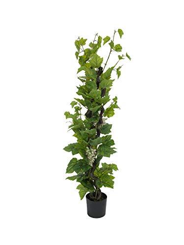 artplants.de Set 'Künstliche Weinrebe und UV Schutz Spray' - Kunstbaum Weinrebe Cataleya Kunststamm, mit Früchten, grün, 160cm