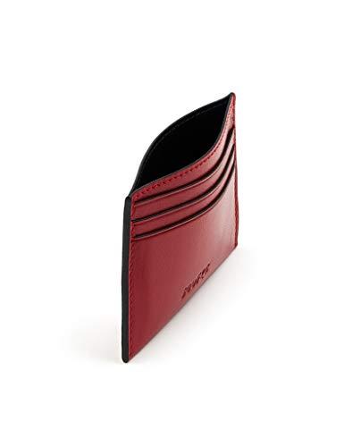SOOFRE Berlin Leder Kreditkartenetui, Kartenetui, Card Holder, Slim Wallet, Geldbörse, Micro Sleeve, Kreditkartenhülle – Rot | Schwarz