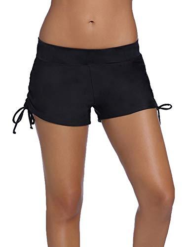 Bañador para mujer con parte inferior tipo boyleg y cordón lateral, talla grande, pantalones de baño, bikini, ropa de playa