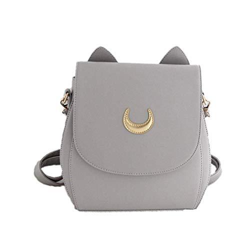 YX Rucksack schuleHerbst Sailor Moon Weibliche Tasche Rucksack Luna Kätzchen Mode Doppel Zurück Einfach Lässig Reise Schultasche Jungen (Grau)