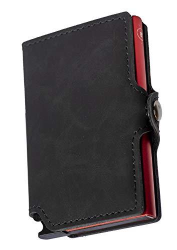 Mini Wallet | Carteira de alumínio e couro| Preto Vermelho