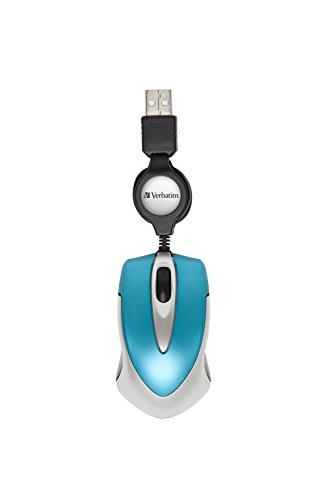 Verbatim Go Mini USB - optische Travel Maus mit Kabeleinzug, caribbean blau