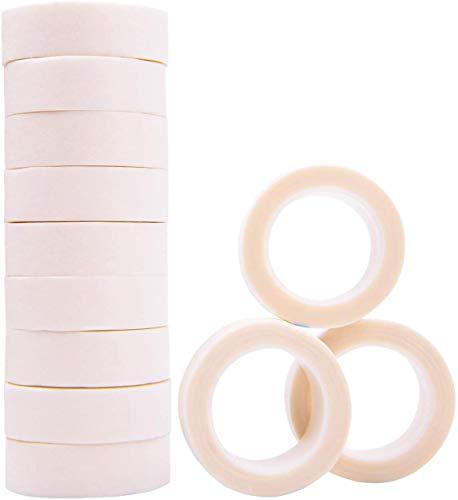 LABOTA 12 Rouleaux Ruban de Cils Papier Blanc Tissu Micropore Médical Bande pour Extension de Cils -1.25CM*9M