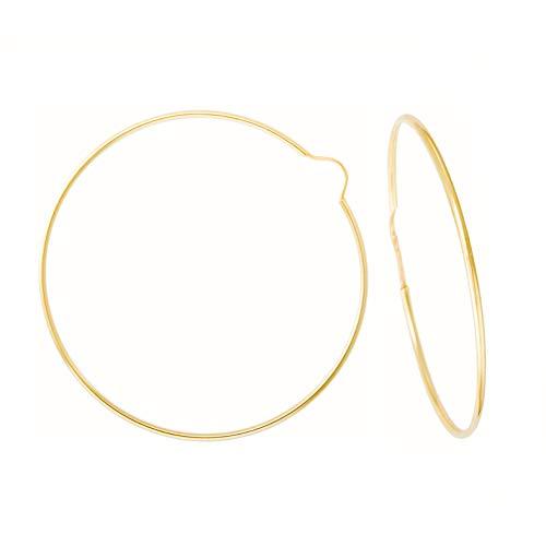 Pendientes redondos lisos flexibles de oro amarillo (375/1000) 50 mm