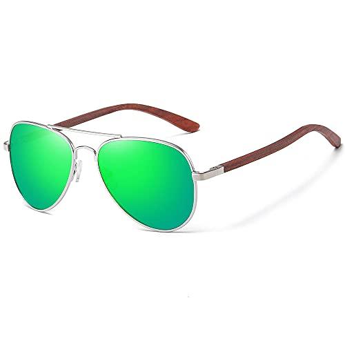 WQZYY&ASDCD Gafas de Sol Gafas De Sol Clásicas De Madera Aviador con Montura De Metal, Gafas De Sol De Madera para Hombres, Gafas De Sol De Lujo para Conducción De Metal, Verde