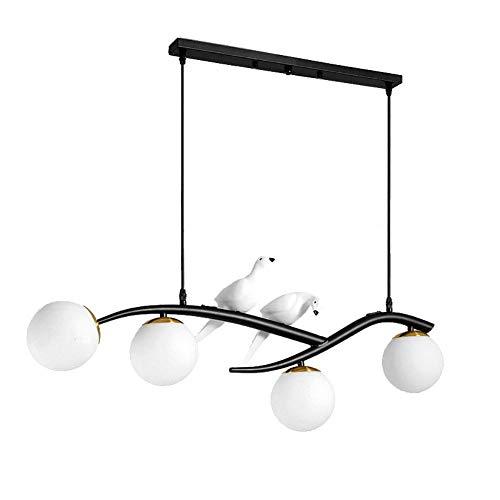 WXXWJ Luces de Techo G9 Ajarzas de Pájaro Vintage Creativo Colgante Luz Globo de Vidrio Congelado Iluminación Colgante para el Dormitorio Comedor Light Finxture,Negro,Cubierta de Vidrio Blanco Lechos