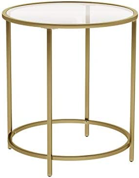 Best VASAGLE Round Side Table, Tempered Glass End Table with Golden Metal Frame, Small Coffee Table, Beds