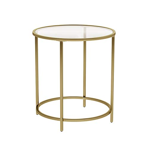 VASAGLE Round Side Table, Tempered Glass End Table With Golden Metal Frame, Small Coffee Table, Bedside Table, Living Room, Balcony, Robust and Stable, Decorative, Gold LGT20G