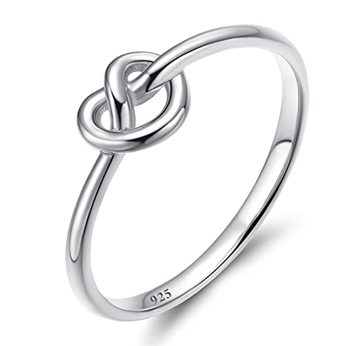 925 Sterling Silver Infinity Ring Celtic Heart Love Knot Thin Promise Band for Women Girls 10 (8)