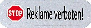PVC sticker voor brievenbus brievenbussen - GEEN reclame - REKLAME - 302054 - Gr. ca. 58 x 16 mm
