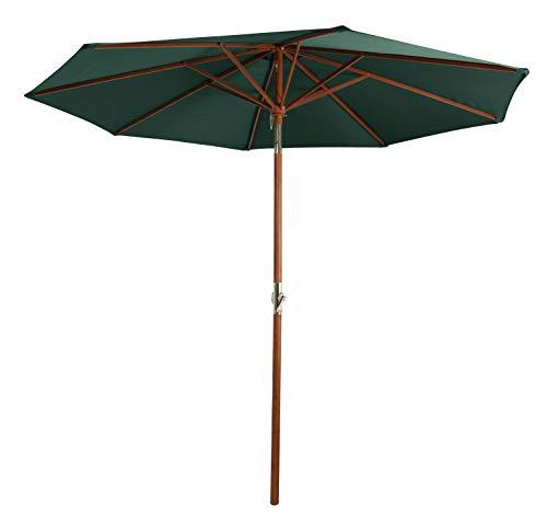 Pure Home & Garden Holz Sonnenschirm Hout 300 cm dunkelgrün, mit UV-Schutz 50 Plus, Kurbel, Knickfunktion und abnehmbarem Bezug