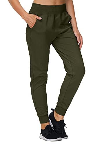 JINSHI Mujer Pantalones Largos Algodón Deportivo Pantalón de Chándal Jogging con Bolsillos Verde Militar M