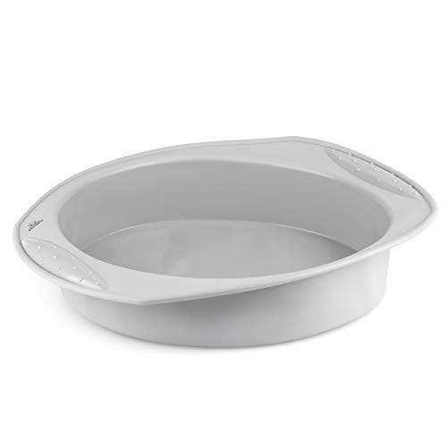 Backefix Molde redondo de silicona para tartas de frutas, antiadherente, sin engrasar, flexible, color gris, diámetro de 22 cm