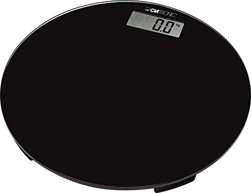 Digitale Personenwaage Digital Körperwaage Gewicht bis 150 kg Glas Rund (Automatische Abschaltung, Digitalwaage, 100 g Schritte, Schwarz)