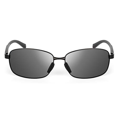 XXL extra large Rectangular Oversized Polarized Sunglasses for big wide heads 150mm metal frame (black, black)