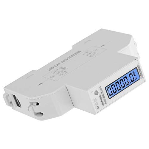 Medidor de energía de carril DIN - Pantalla digital LCD Medidor de vatios de energía de consumo eléctrico de carril DIN monofásico