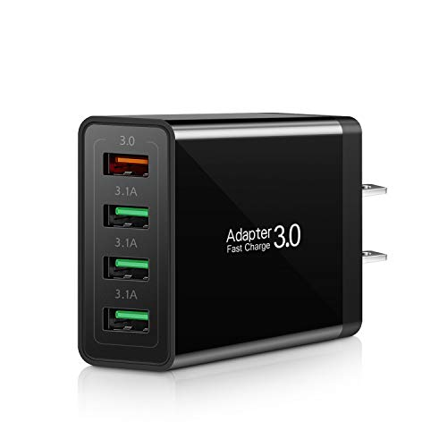 Fast Charging 3.0 Wall Charger, 4-Ports USB Wall Charger, iSeekerKit 3.0 USB Charger with Fast USB Adaptive Adapter Block Compatible 10W Wireless Charger Galaxy S9 S8 Note 8 9,Tablet,iPhone,Pad